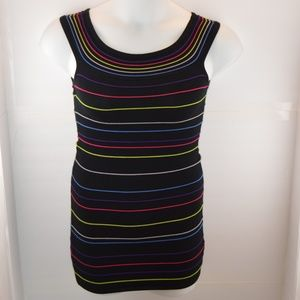 🔴 Forever 21 Black Colorful Striped Bodycon Dress